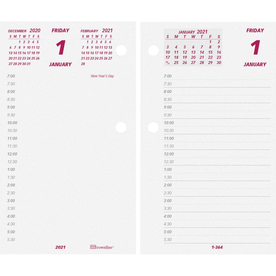 Brownline Jumbo Calendar Pad Refill Daily 1 Year January 2021 till December 2021 7 00 AM to 6 30 PM 1 Day Double Page Layout 6 x 3 12 REDC2Rx