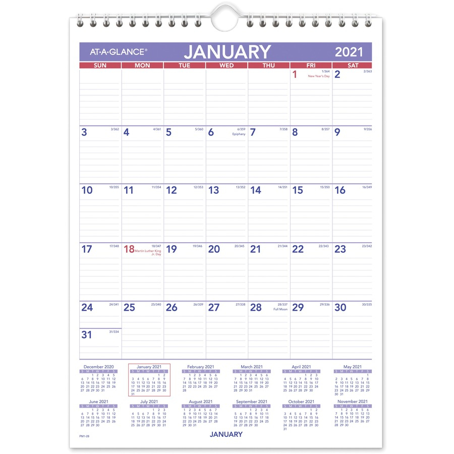 At A Glance Recycled Monthly Wall Calendar Julian Dates Monthly 1 Year January 2021 till December 2021 1 Month Single Page Layout 8 x AAGPM128x