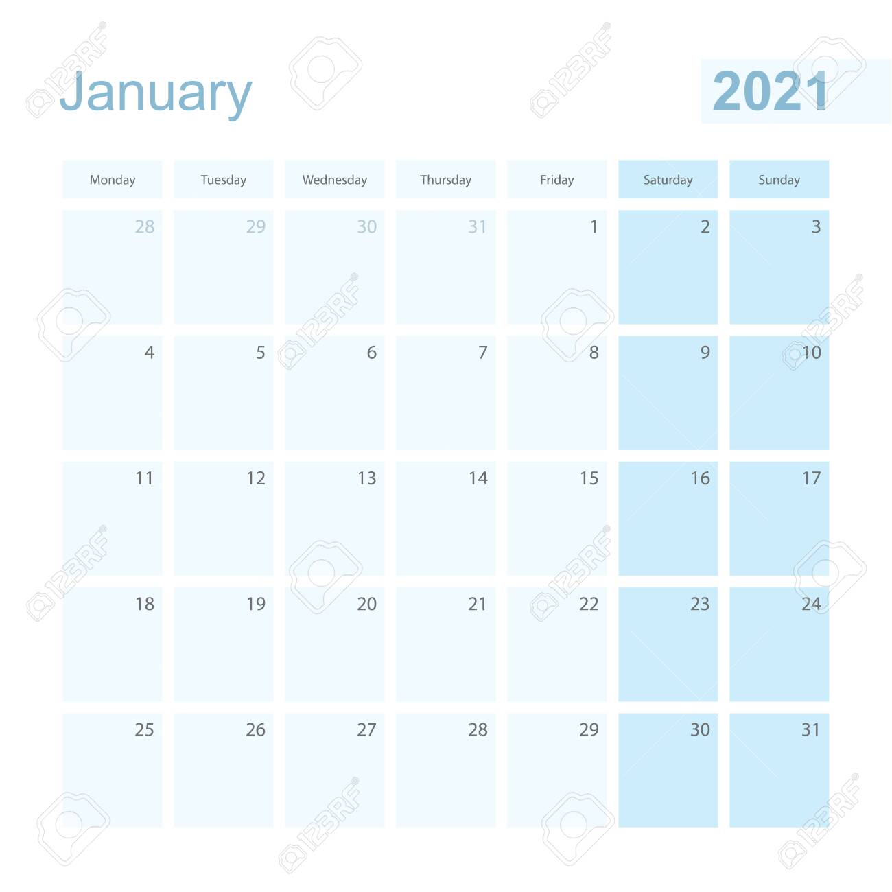 photo stock vector 2021 january wall planner in blue pastel color week starts on monday calendar for january 2021 with