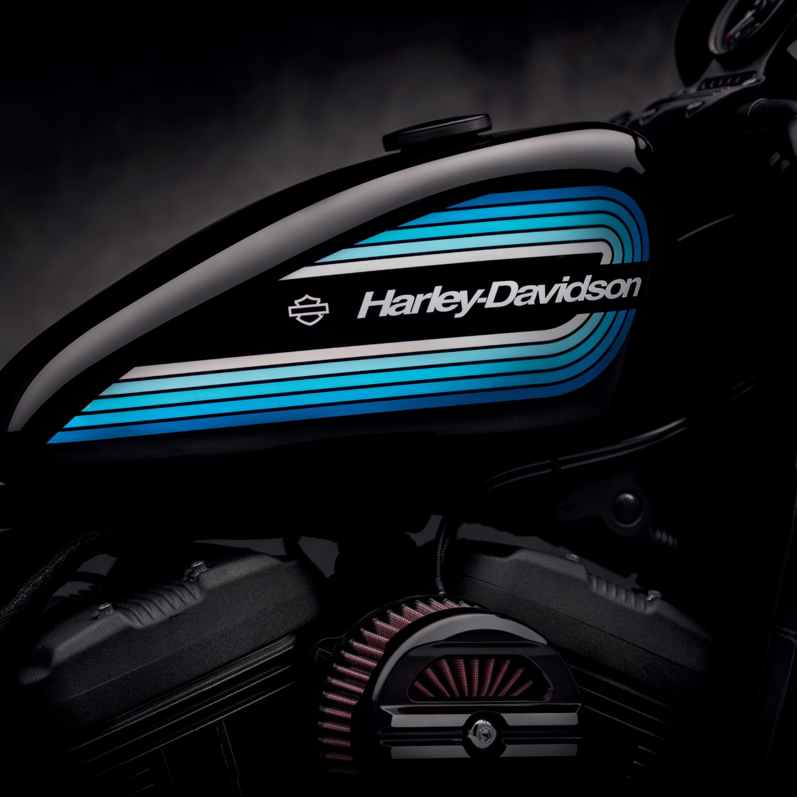 harley davidson motorcycle blue black background closeup 5k 2387