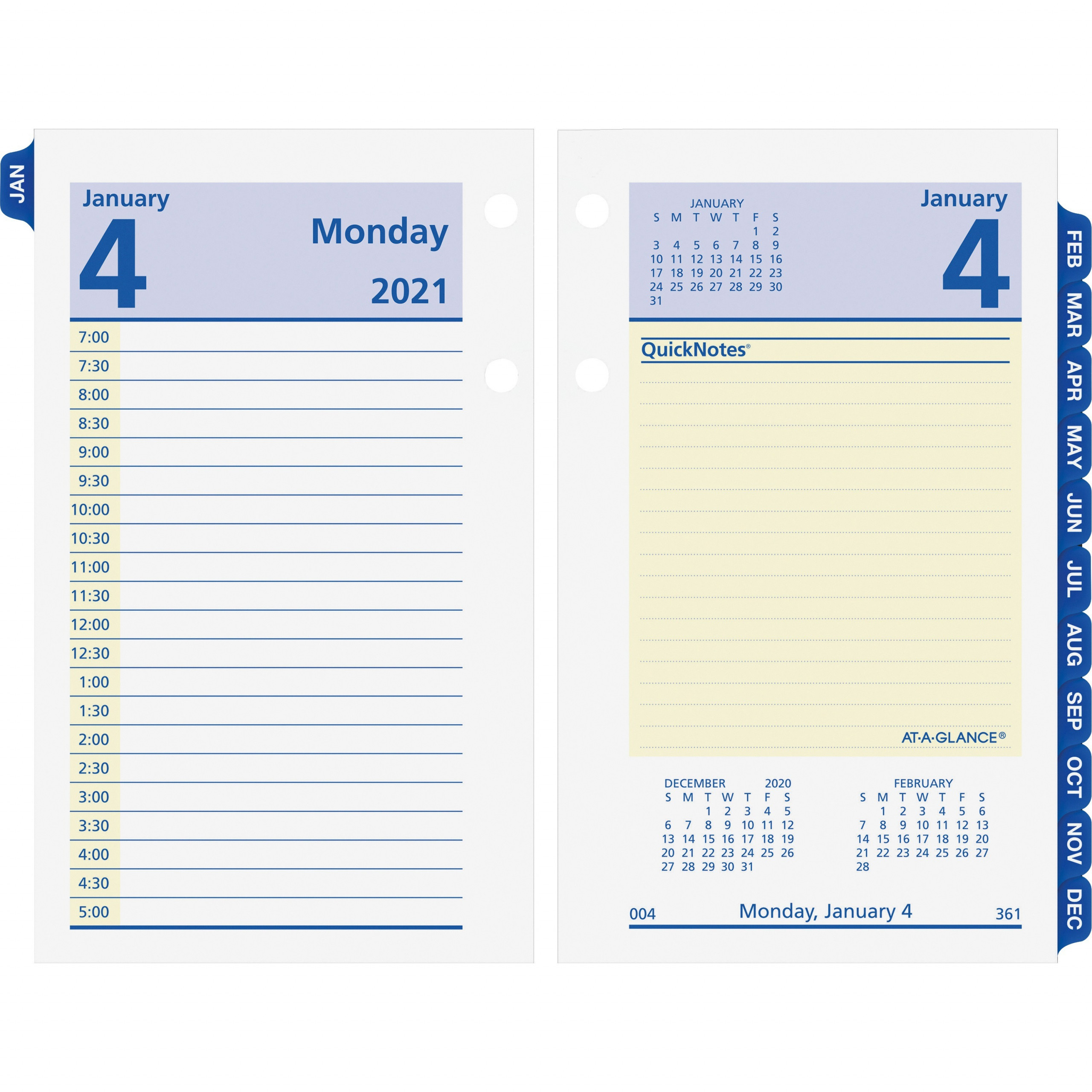 At A Glance QuickNotes Daily Desk Calendar Refill Julian Dates Daily January 2021 till December 2021 7 00 AM to 5 00 PM Half hourly 1 Day AAGE x