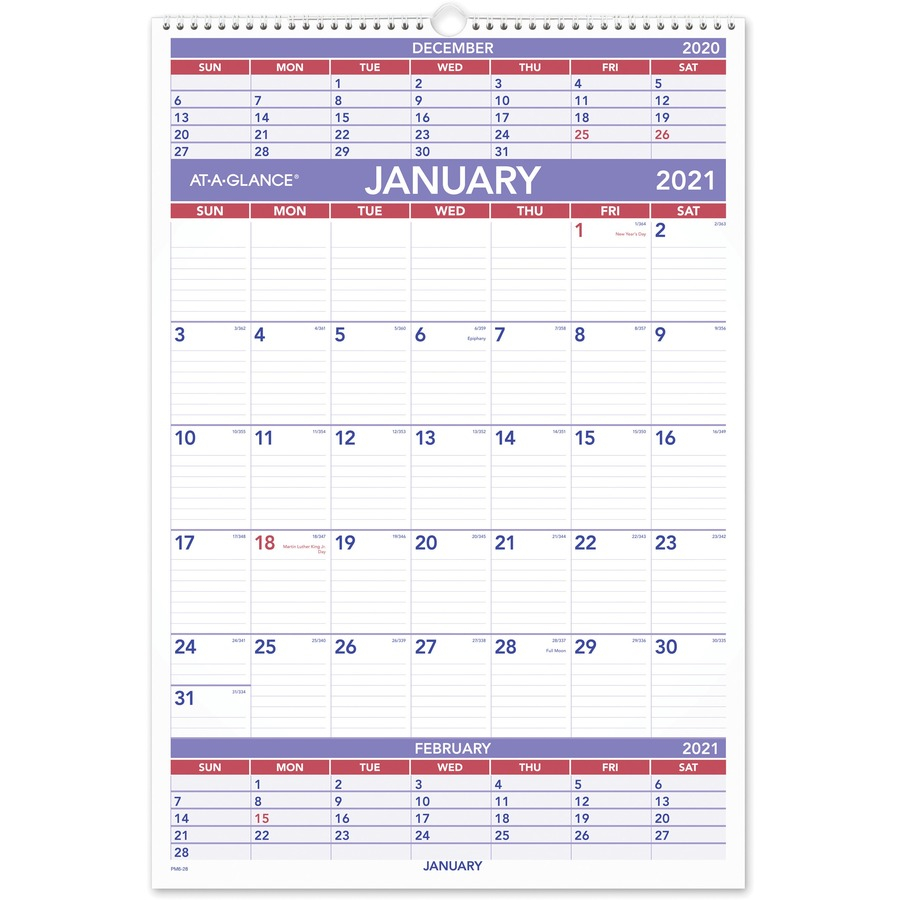 At A Glance 3 Month Wall Calendar Julian Dates Quarterly 1 Year January 2021 till December 2021 3 Month Single Page Layout 15 12 x 22 AAGPM628x