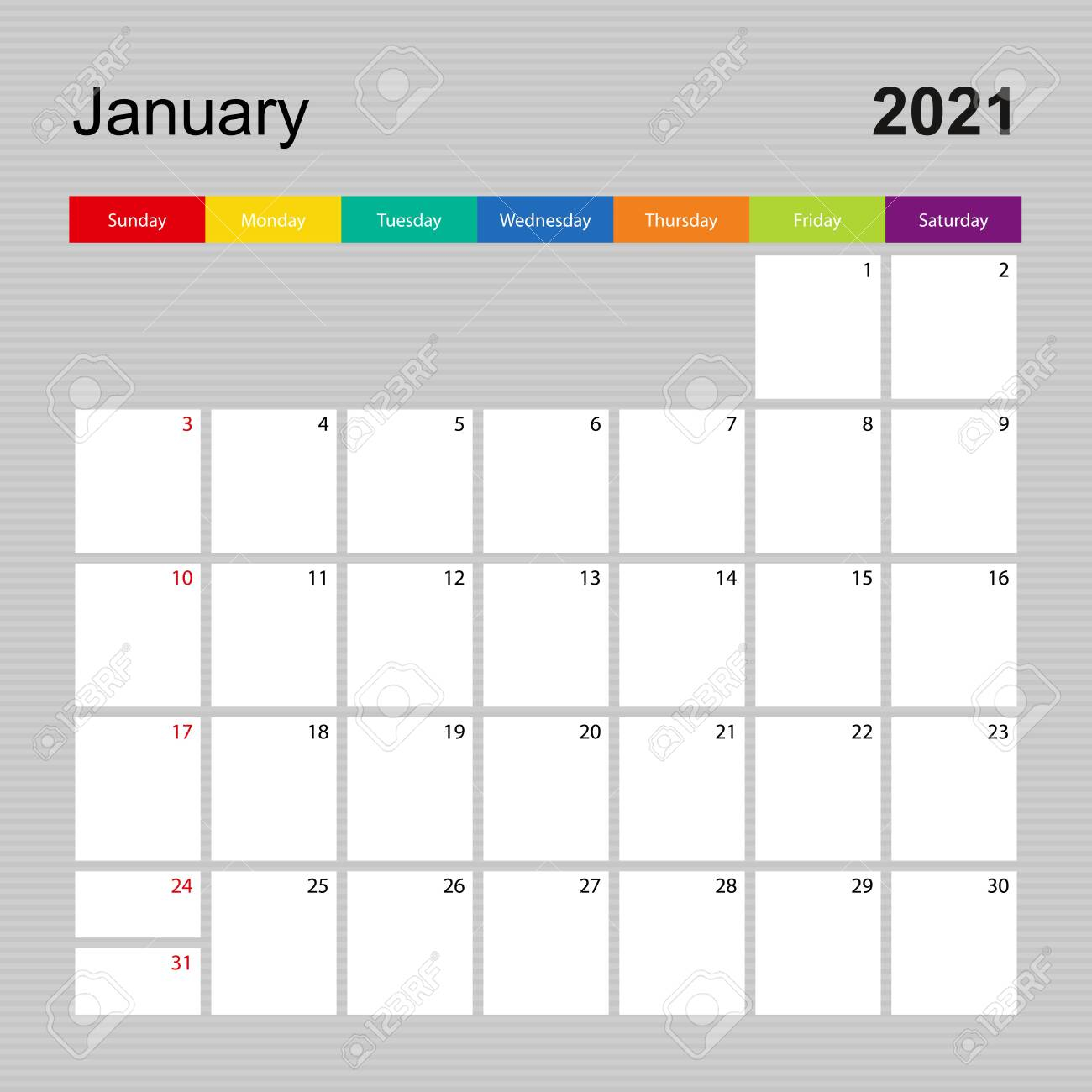 photo Ð¡alendar page for january 2021 wall planner with colorful design week starts on sunday vector calend