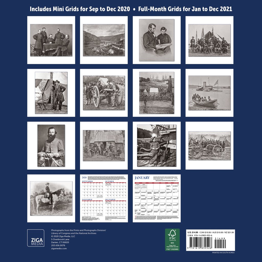 civil war day by day chronology wall calendar 2021 monthly january december 12 x 12