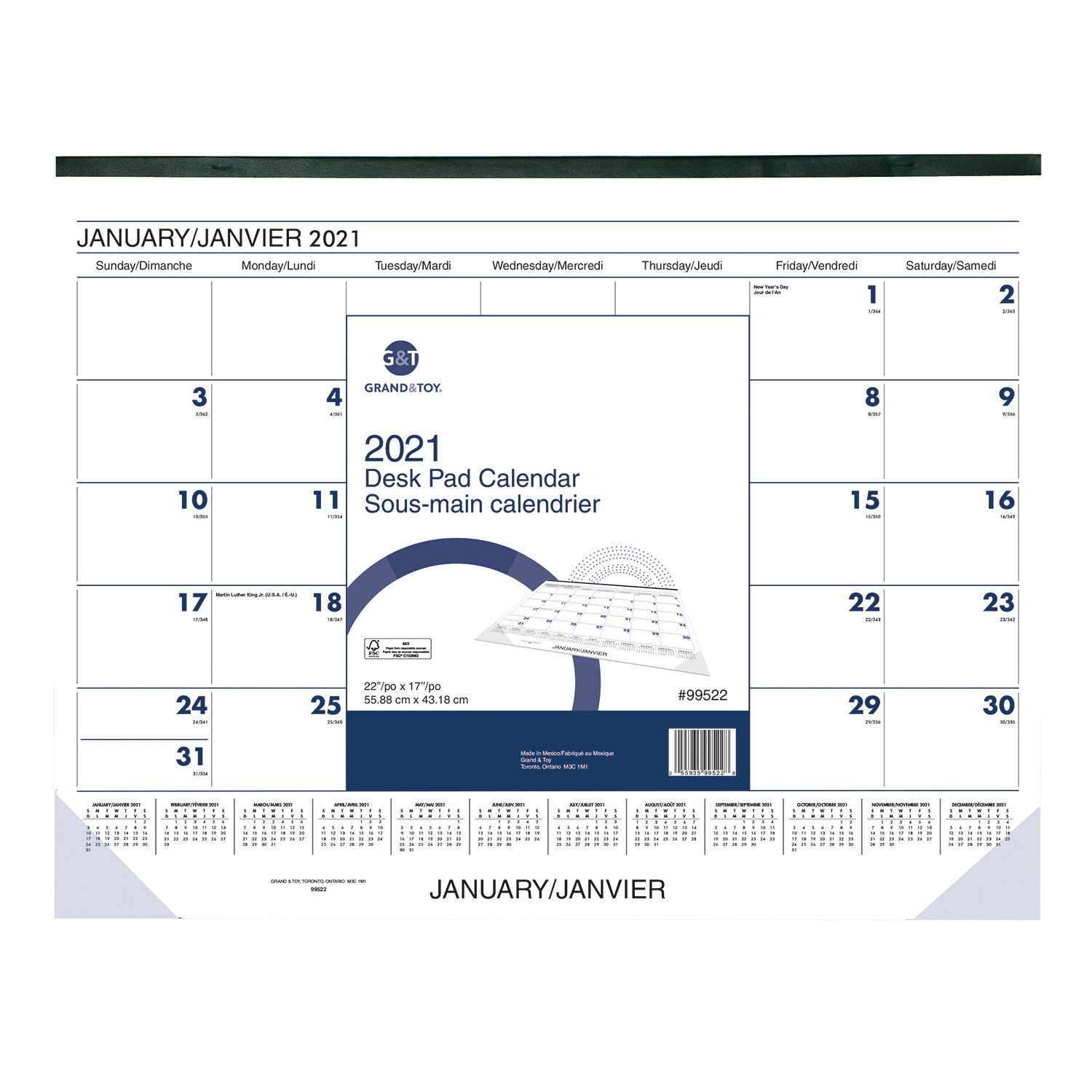 Grand Toy 13 Month Monthly Desk Pad Calendar, 22 x 17, January January, Bilingualx