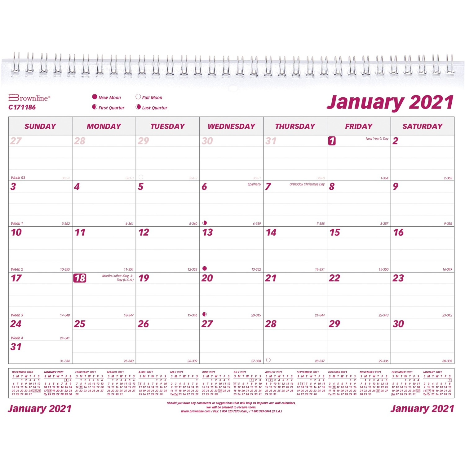 Brownline Contemporary Monthly Wall Calendar Monthly 11 x 8 5 January till December 1 Month Per 1 Page s