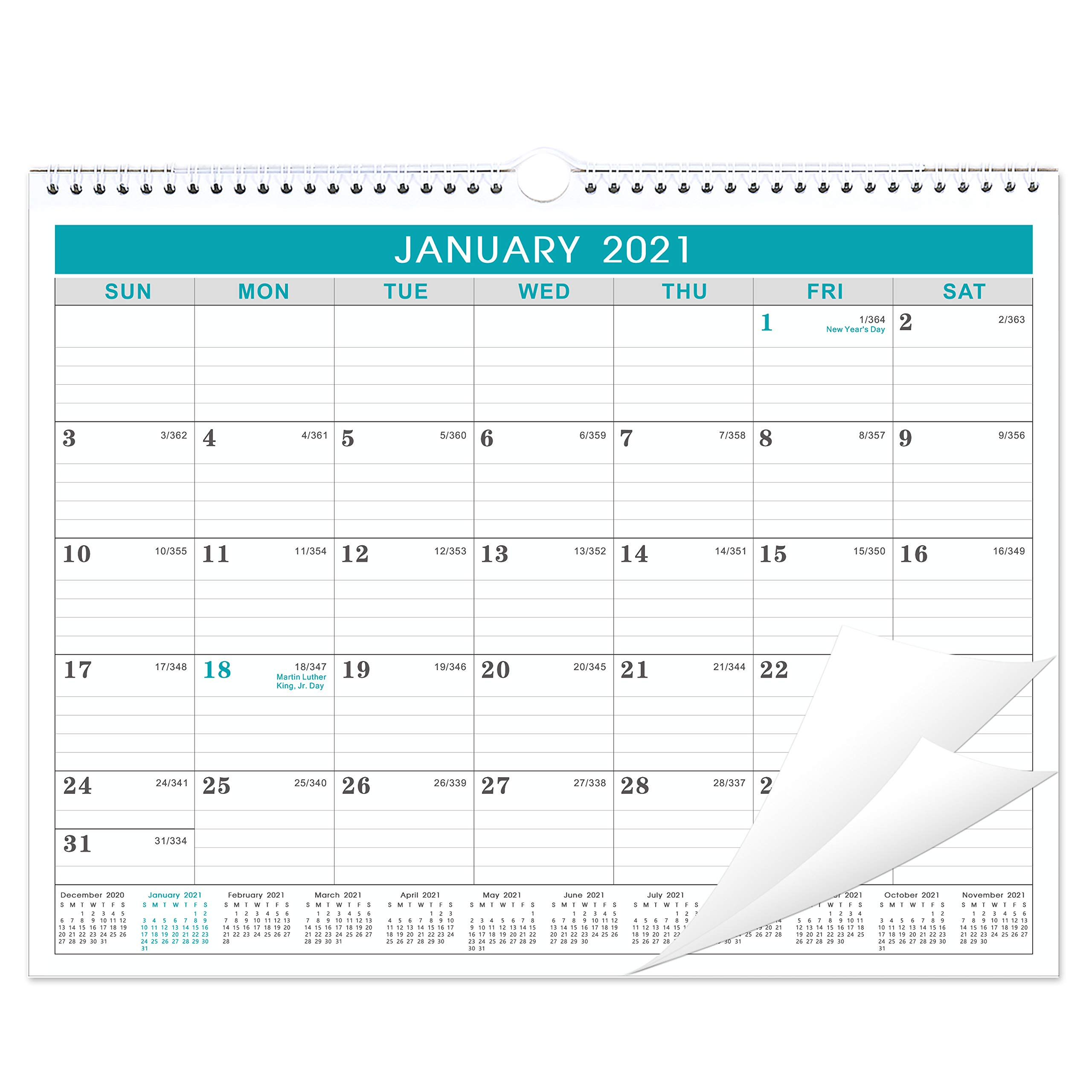 2020 2021 calendar 18 months wall calendar with julian date thick paper perfect for organizing planning july 2020 december 2021 14 75 x 11 5 inches wire bound