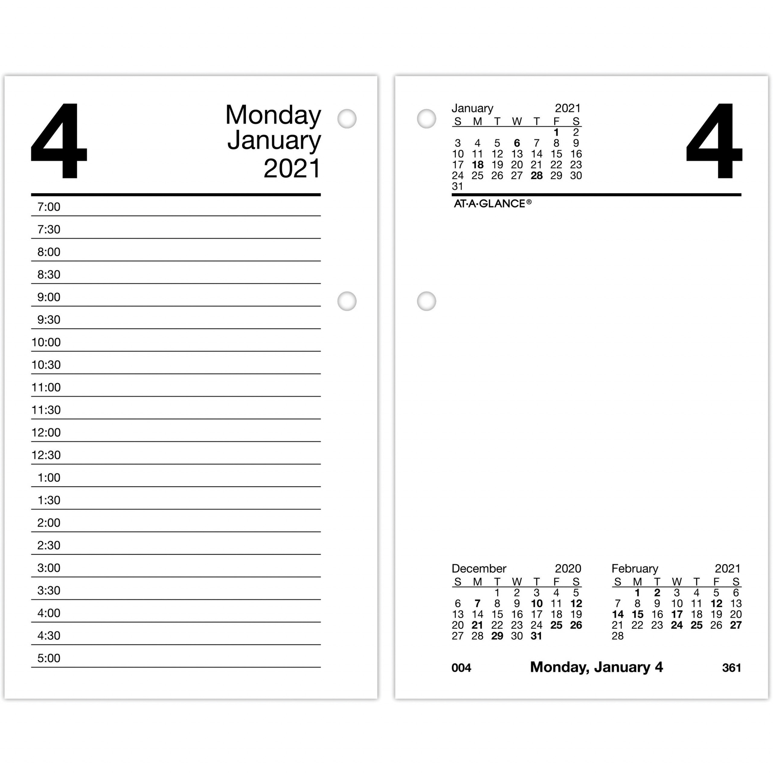 At A Glance Recycled Desk Calendar Refill Julian Dates Daily Monthly 1 Year January 2021 till December 2021 7 00 AM to 5 00 PM AAGE717R50x