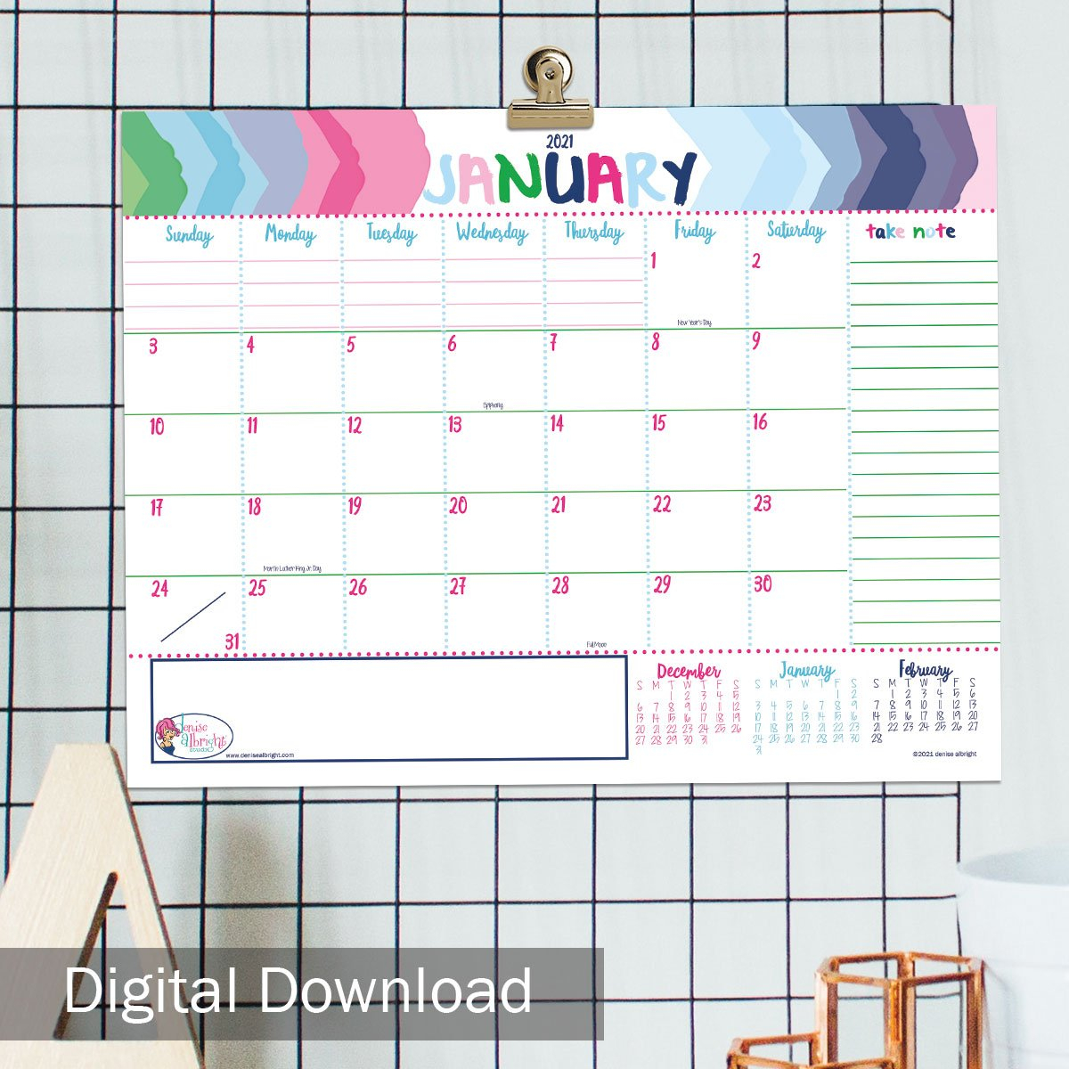 free digital january 2021 monthly view calendar print ready delivered instantly