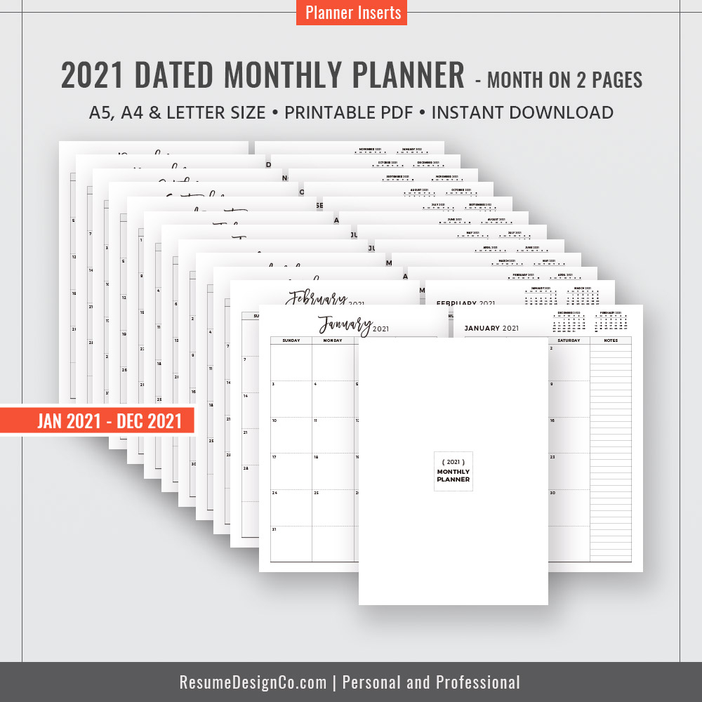 monthly planner 12 month calendar a4 a5 letter size filofax a5 planner design planner refills planner inserts planner printable instant