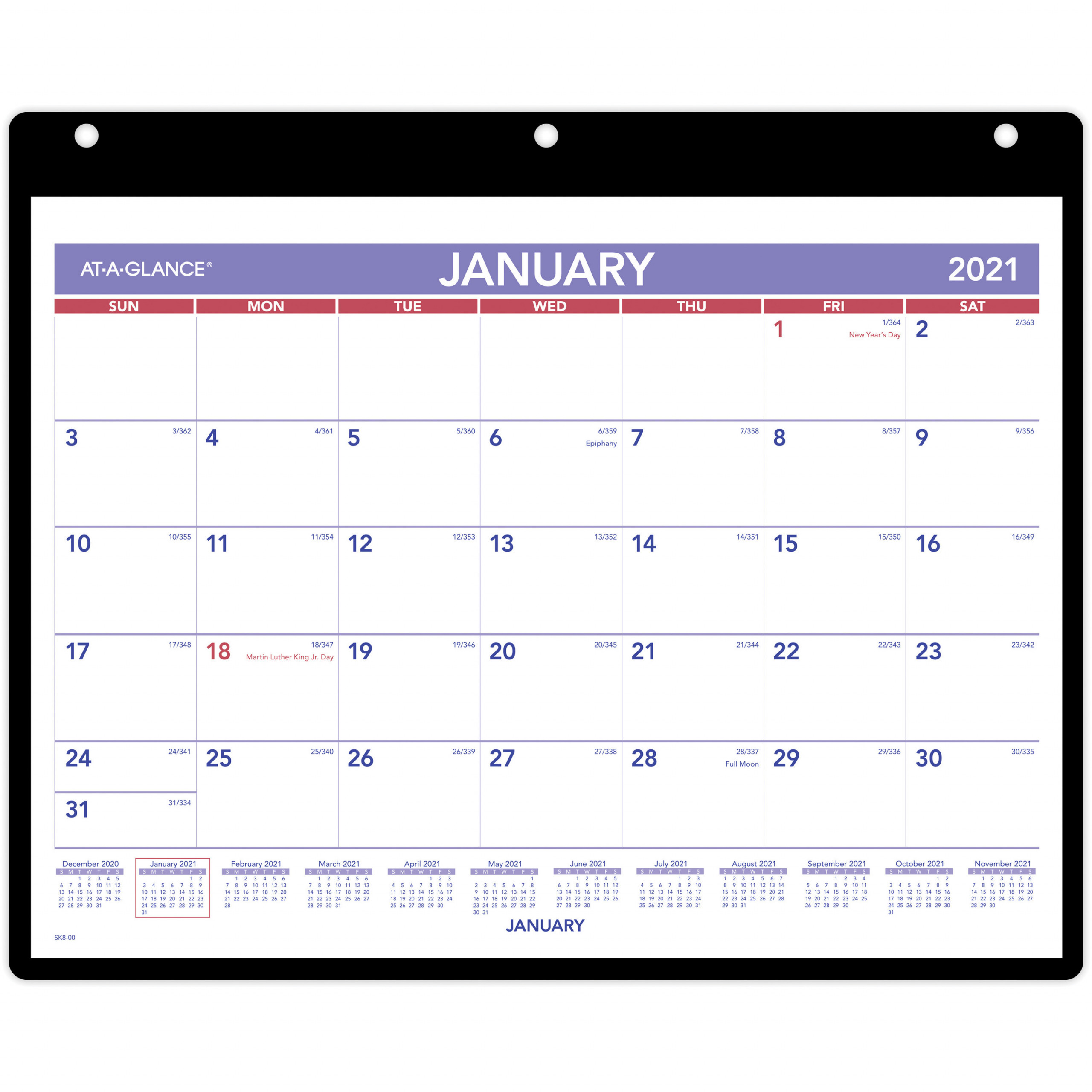 At A Glance Monthly DeskWall Calendar with Poly Holder Julian Dates Monthly 1 Year January 2021 till December 2021 1 Month Single Page AAGSK800x
