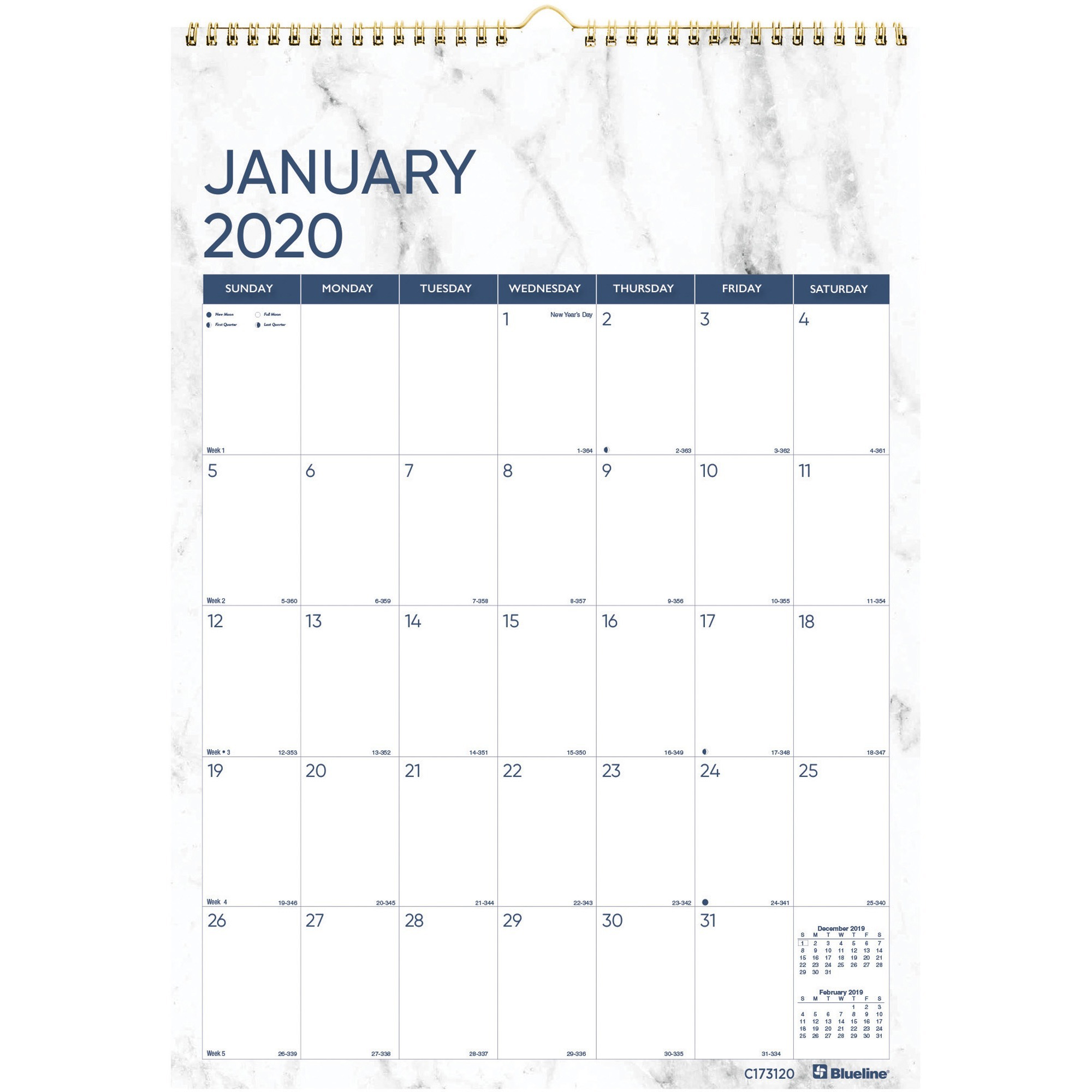 Rediform Marble Wall Calendar Julian Dates Monthly 1 Year January till December 1 Month Single Page Layout Twin Wire Marble Holiday REDC x