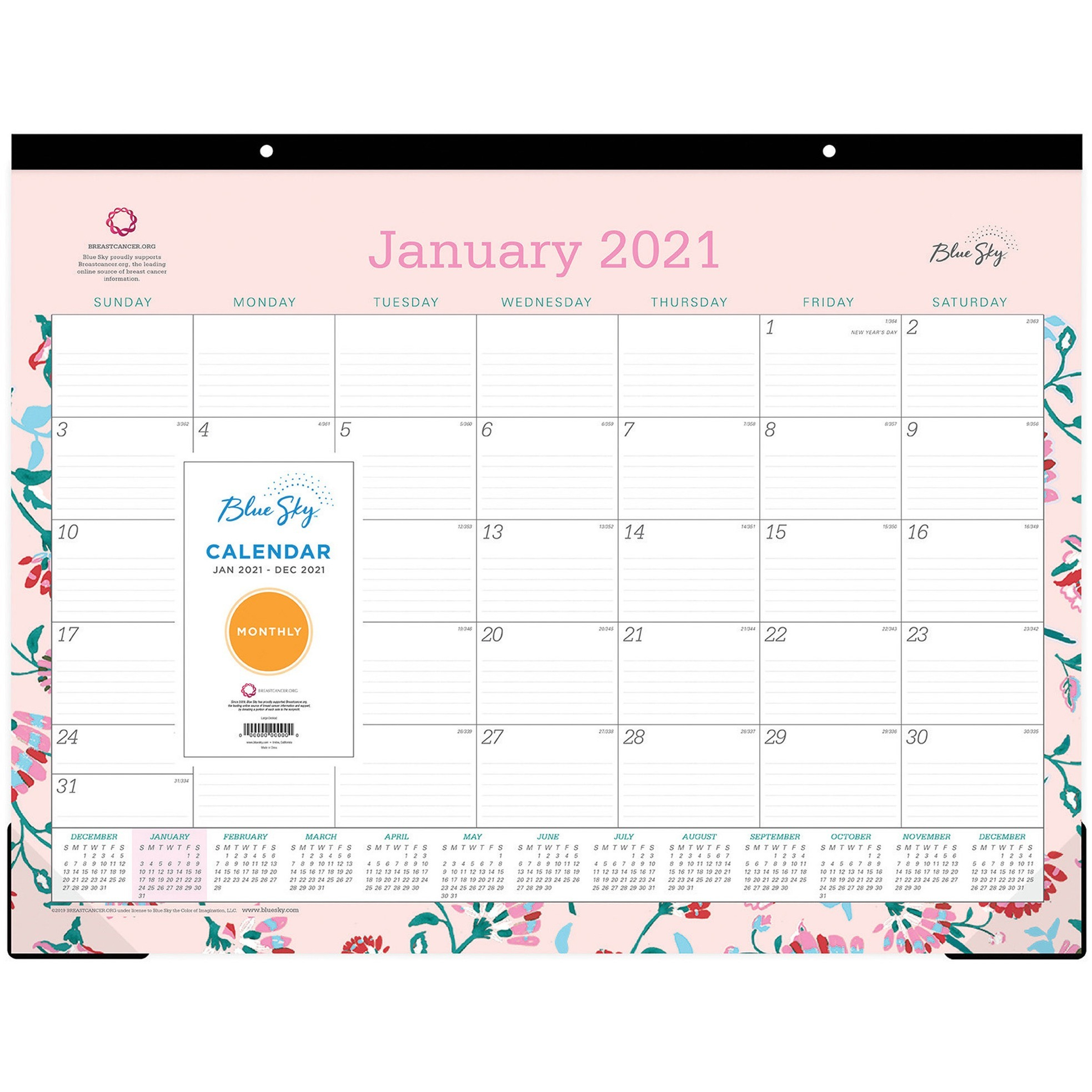 Blue Sky Breast Cancer Awareness Desk Pad Julian Dates Monthly 1 Year January 2021 till December 2021 22 x 17 Sheet Size Desk Pad BLS x