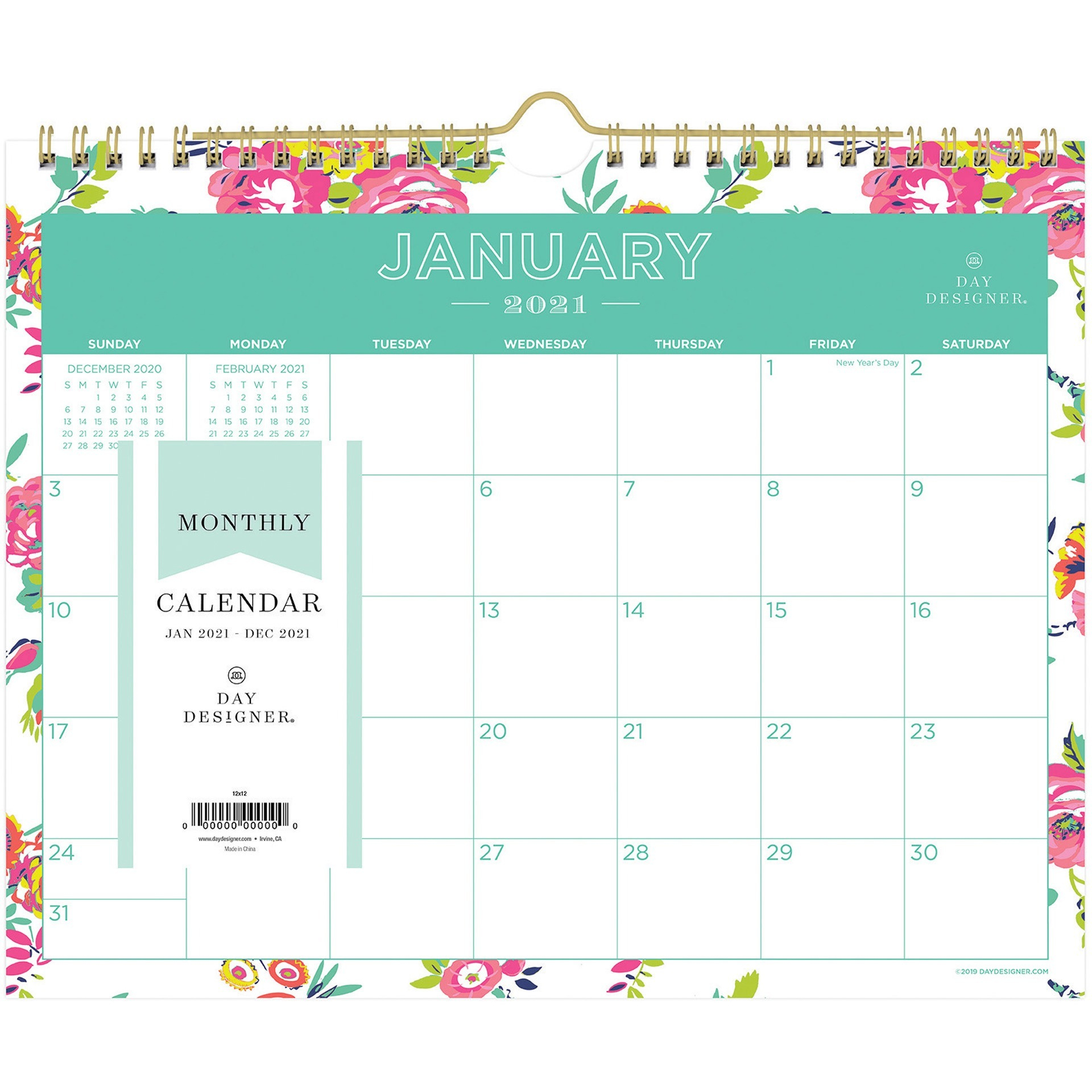 Blue Sky Day Designer White Floral Wall Calendar Julian Dates Monthly 1 Year January 2021 till December 2021 8 34 x 11 Sheet Size Twin BLS x