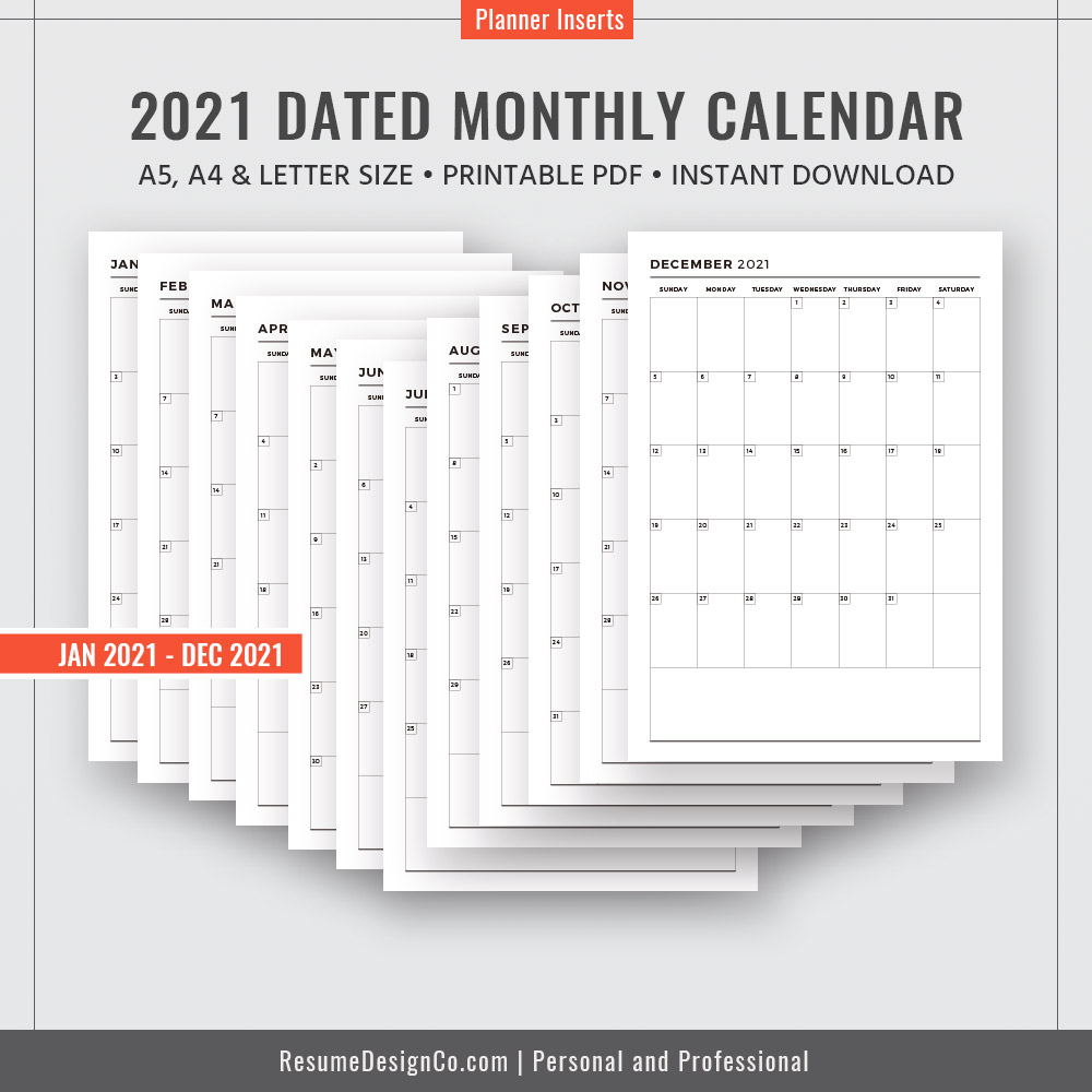 dated monthly calendar 12 months monthly planner a4 a5 letter size filofax a5 printable planner inserts instant
