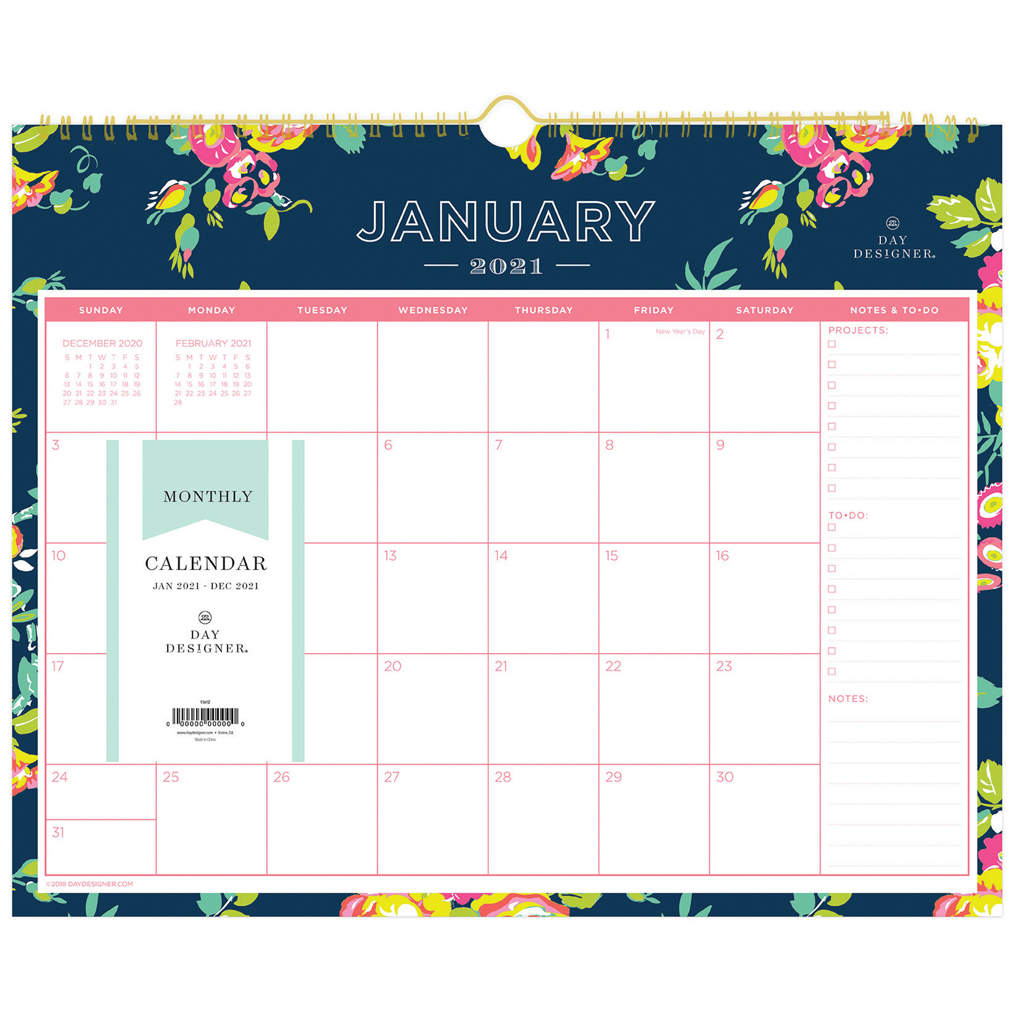 Blue Sky Day Designer Navy Floral Wall Calendar Yes Monthly 1 Year January till December Wall Mountable Multi Navy Floral BLS x