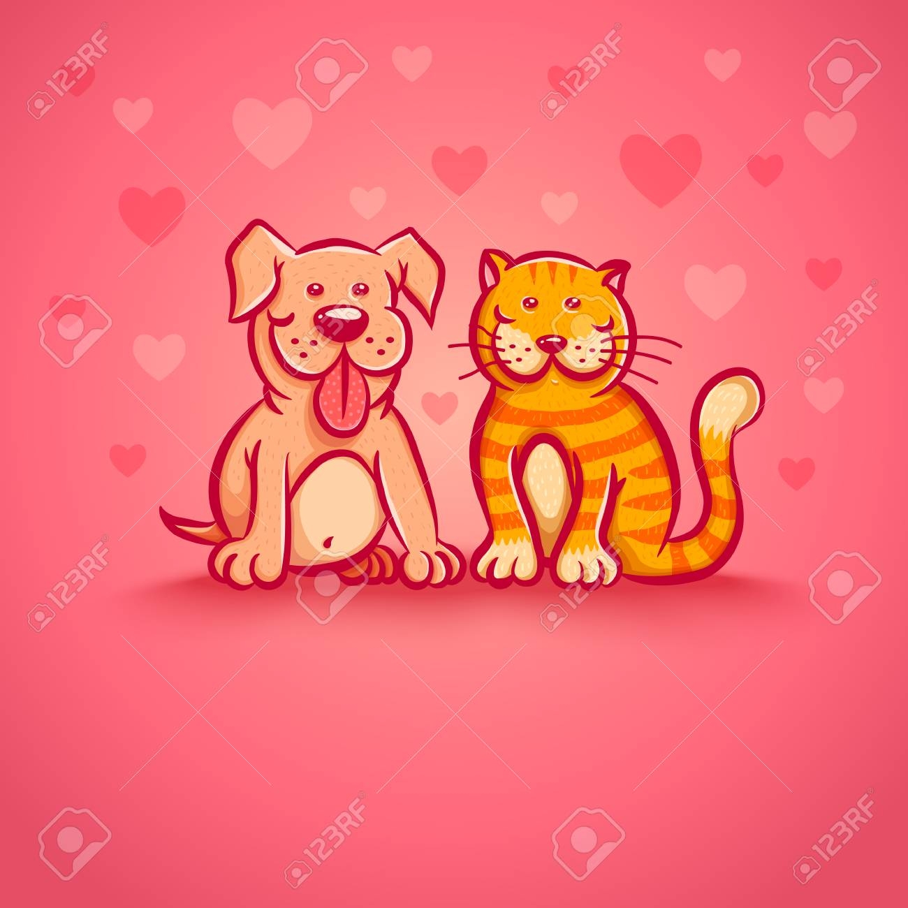photo stock vector cute vector illustration of cat and dog for valentine day pets on pink background with hearts