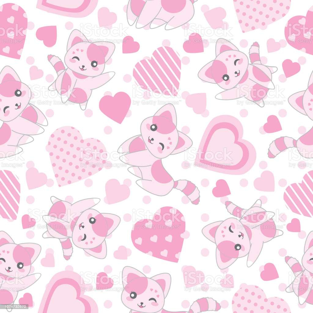 seamless background of valentines day illustration with cute pink cat vector id
