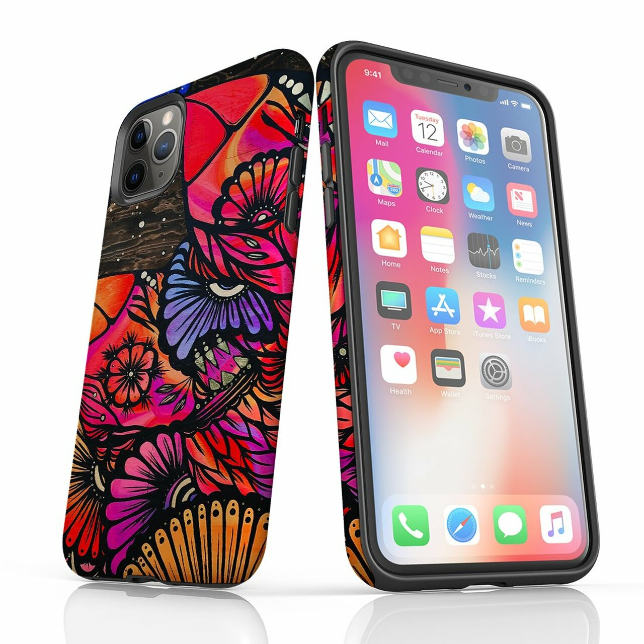 iphone 11 pro max 11 pro 11 xs max xs x xr 8 7 6 plus se 5s 5 protective case abstract wallpaper red blue