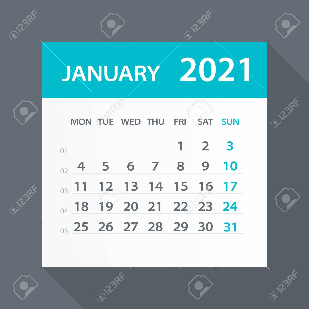 photo stock vector january 2021 calendar leaf illustration vector graphic page