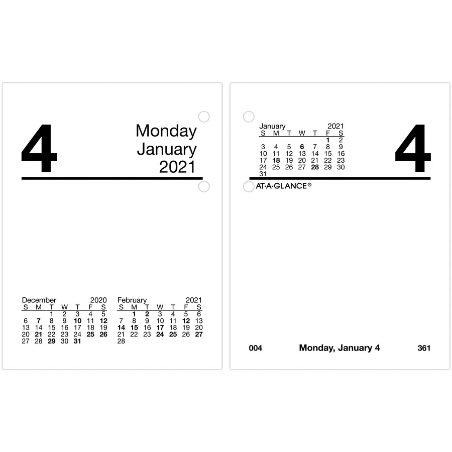 At A Glance pact Daily Desk Calendar Refill with Tabs Julian Dates Daily January 2021 till December 2021 1 Day Double Page Layout 3 34 AAGE x