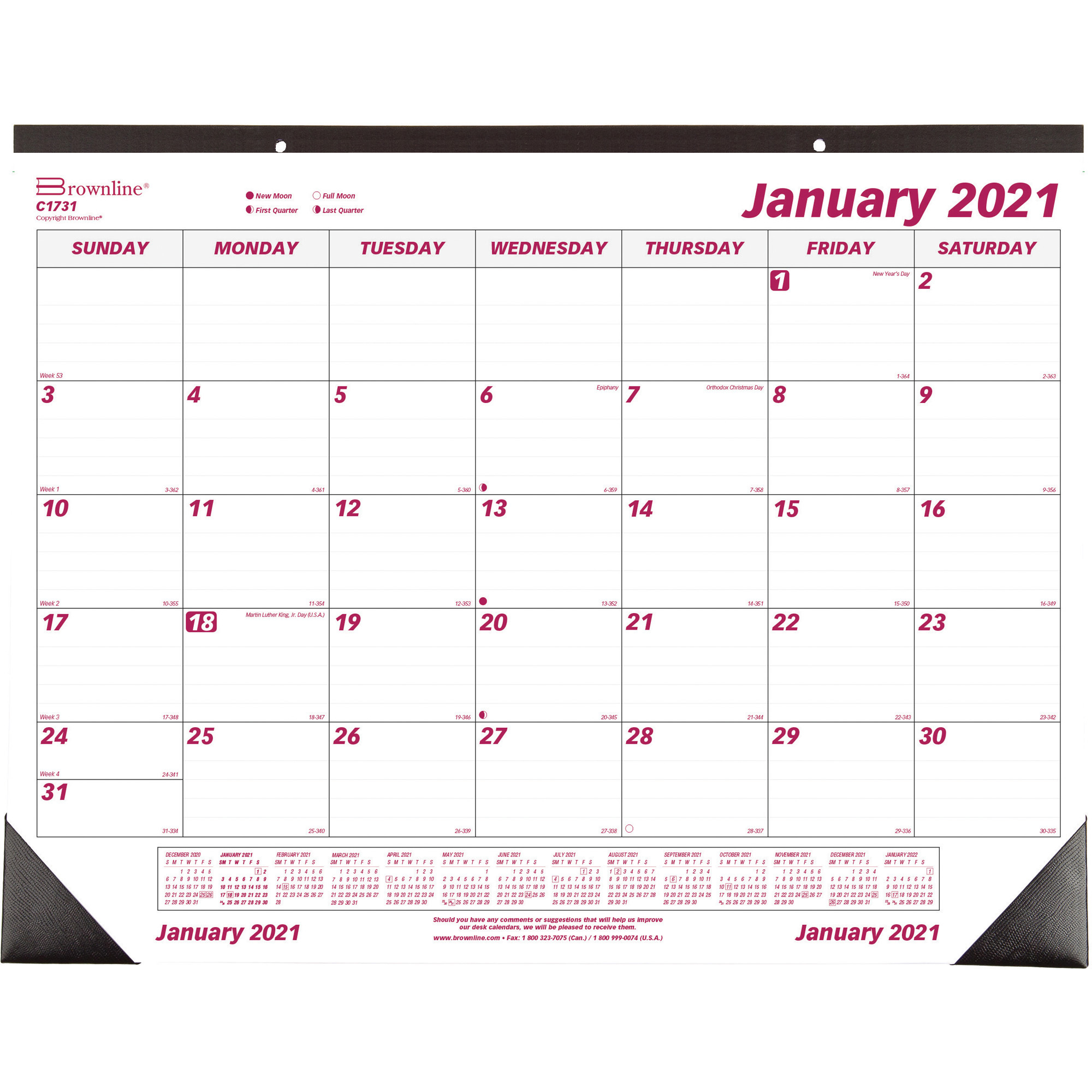 Brownline Professional Monthly DeskWall Calendar Julian Dates Monthly 1 Year January 2021 till December 2021 1 Month Single Page Layout REDC1731x