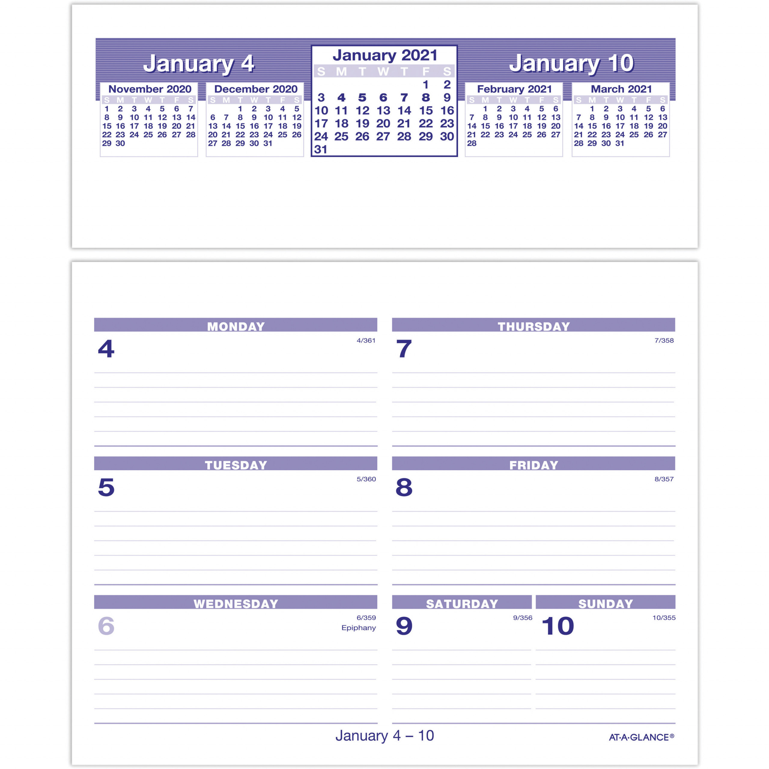At A Glance Flip A Week Desk Calendar Refill Julian Dates Weekly 1 Year January 2021 till December 2021 1 Week Double Page Layout 5 58 AAGSW705X50x