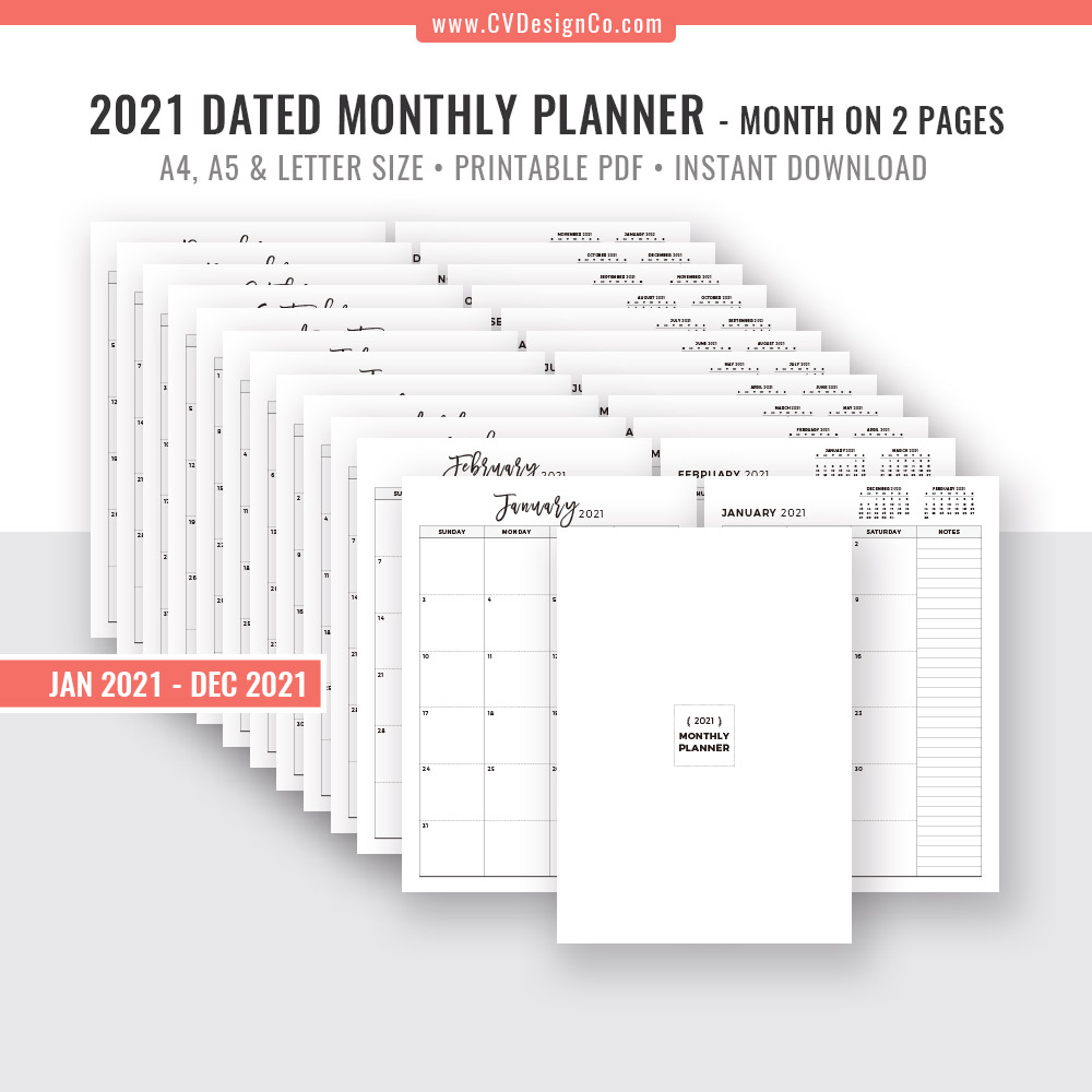 2021 monthly planner 12 month calendar monthly organizer month on 2 pages printable planner inserts planner template design filofax a5 a4 letter size