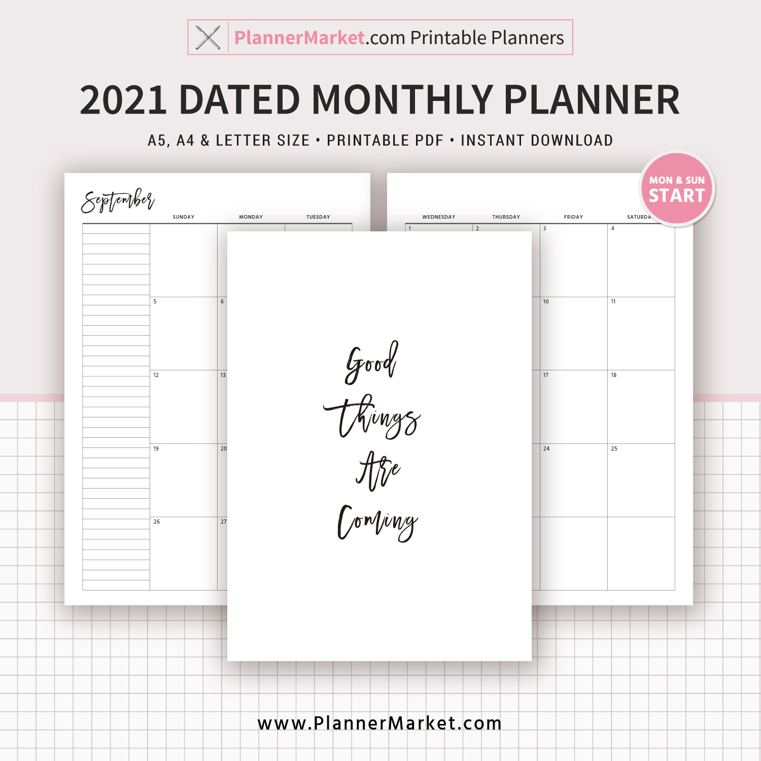 dated monthly planner monthly calendar printable planner a5 a4 letter size mo2p monday and sunday start