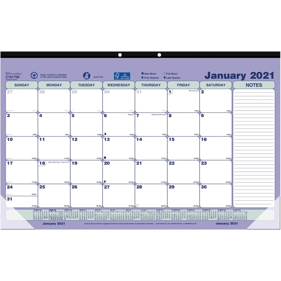 Brownline Monthly pact Desk PadWall Calendar Monthly 1 Year January 2021 till December 2021 1 Month Single Page Layout 17 34 x 10 REDC x