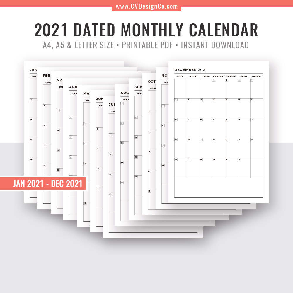 2021 monthly calendar 12 months printable monthly planner planner inserts planner template planner refills filofax a5 a4 letter size
