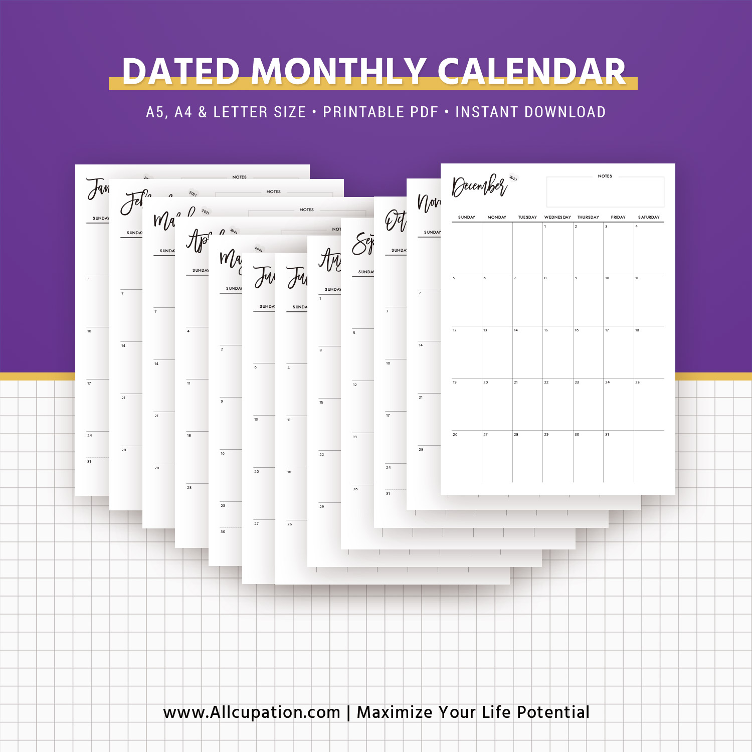 dated monthly calendar best planner printable planner inserts planner pages a5 a4 letter size monday and sunday start
