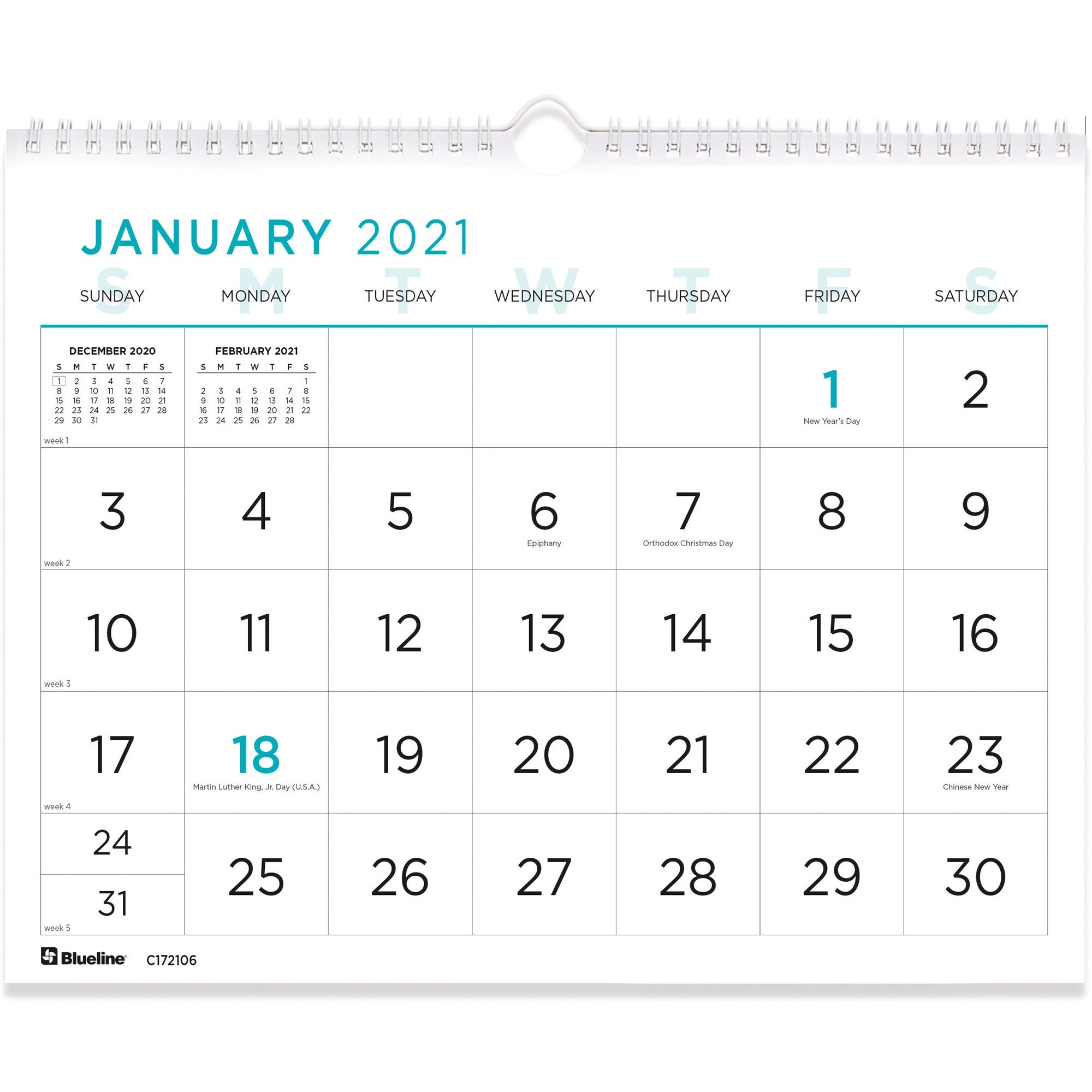 Blueline Print Wall Calendar Monthly 1 Year January 2021 till December 2021 1 Month Single Page Layout Twin Wire Light Blue REDC x