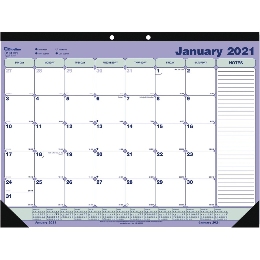 Blueline DeskWall Calendar Pad Monthly 1 Year January 2021 till December 2021 1 Month Single Page Layout 21 14 x 16 Sheet Size Desk REDC x