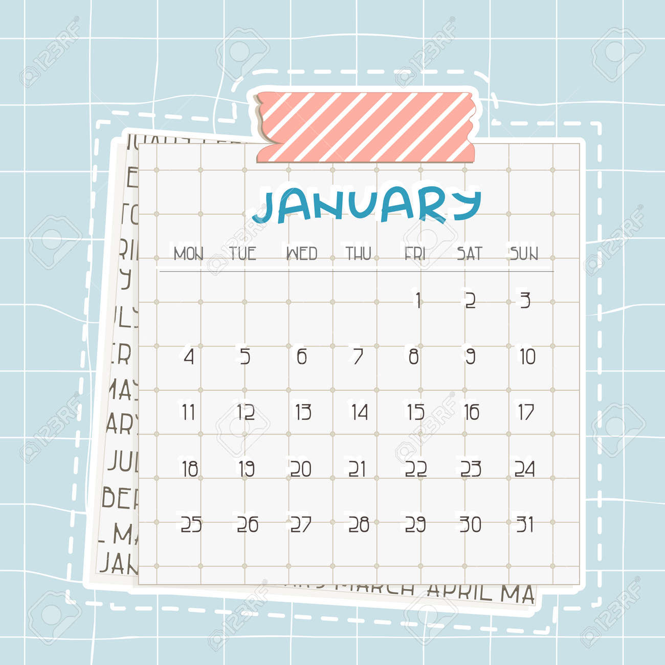 photo stock vector january 2021 calendar blue text on squared paper with dots a piece of newspaper is at the bottom pin