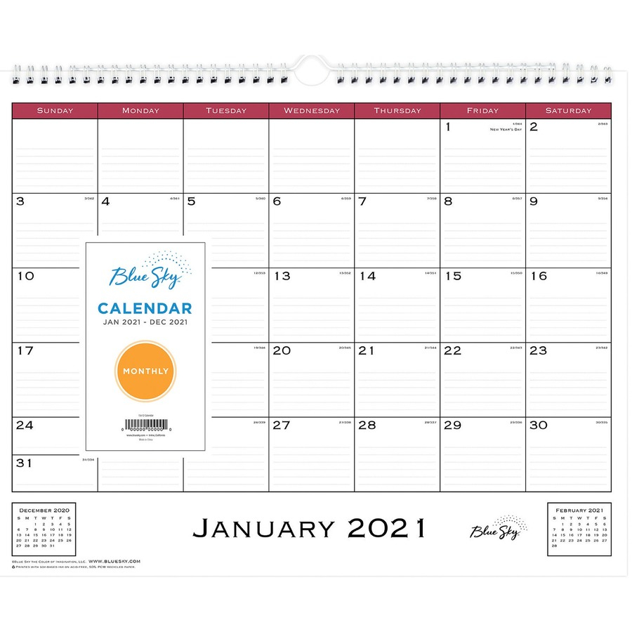 Blue Sky Classic Monthly Wall Calendar Julian Dates Monthly 1 Year January 2021 till December 2021 Wire Bound Bleed Resistant Paper BLS x