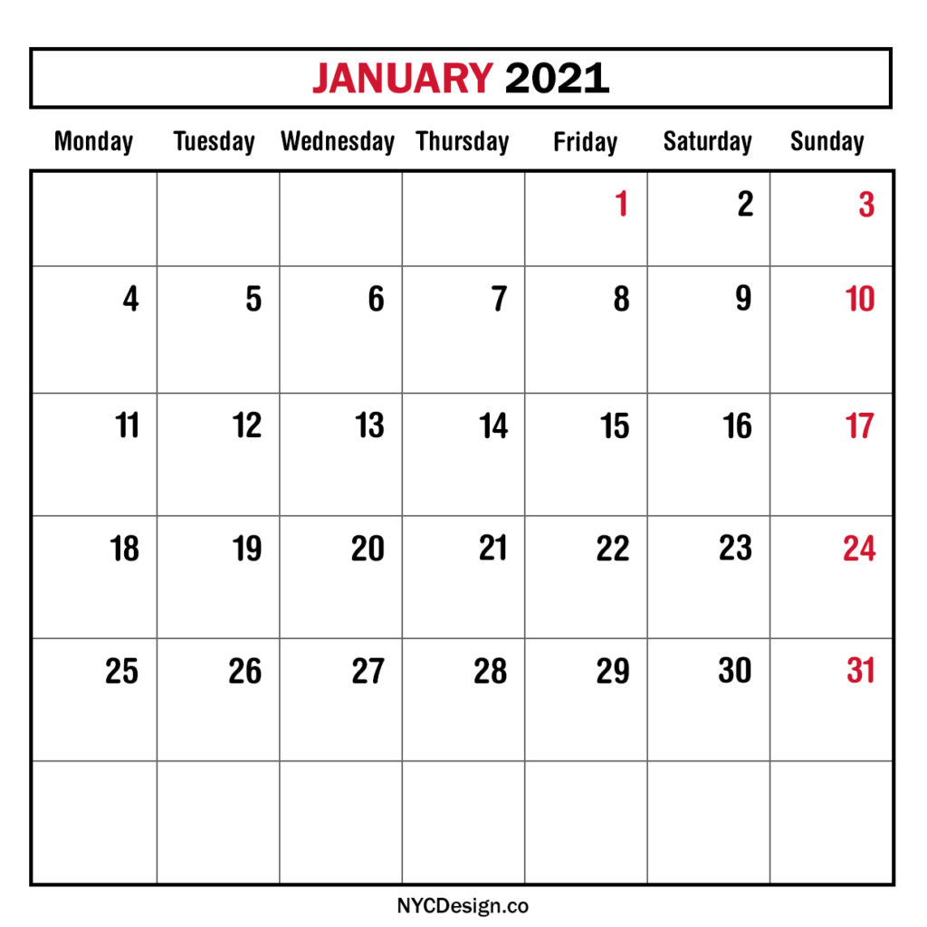 monthly calendar january 2021 monthly planner printable free monday start