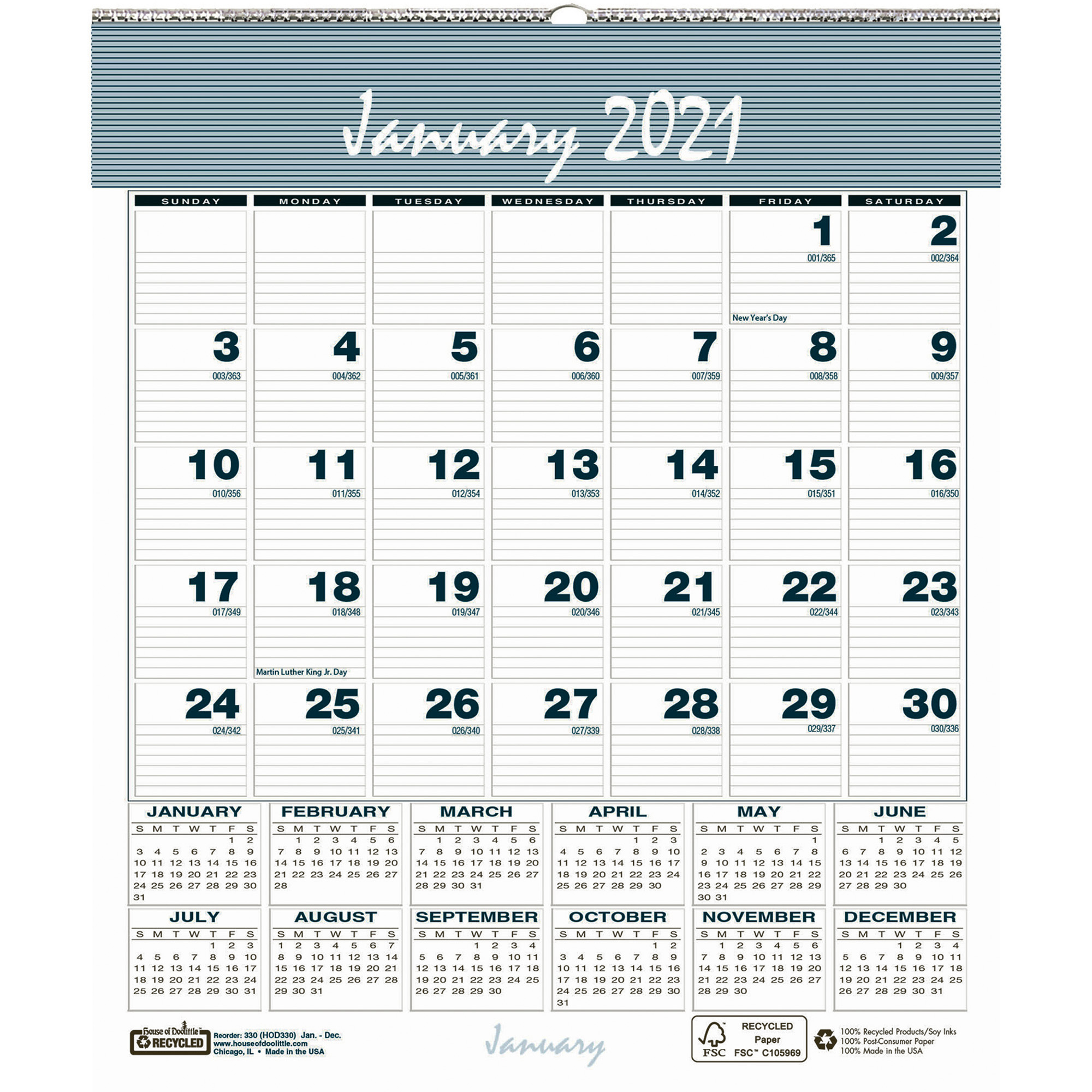 House of Doolittle Bar Harbor Monthly Wall Calendar Julian Dates Monthly 1 Year January 2021 till December 2021 1 Month Single Page Layout HOD330x
