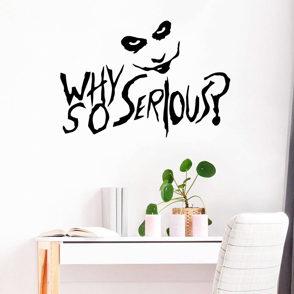 Removable Phrase Joker Sticker Vinyl Wallpaper For Kids Room Decor Poster Serious Clown Quote Wall Stickers