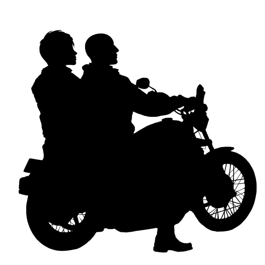 motorcycle couple rider silhouette