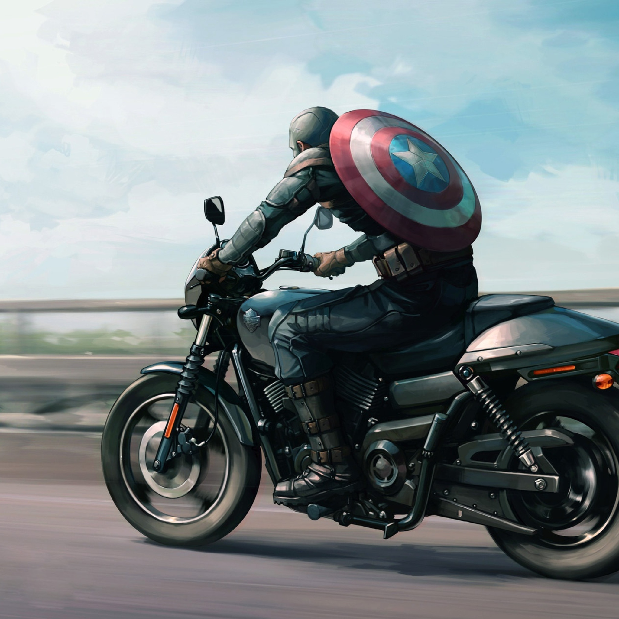 captain america on harley davidson motorcycle artwork qj 2048x2048