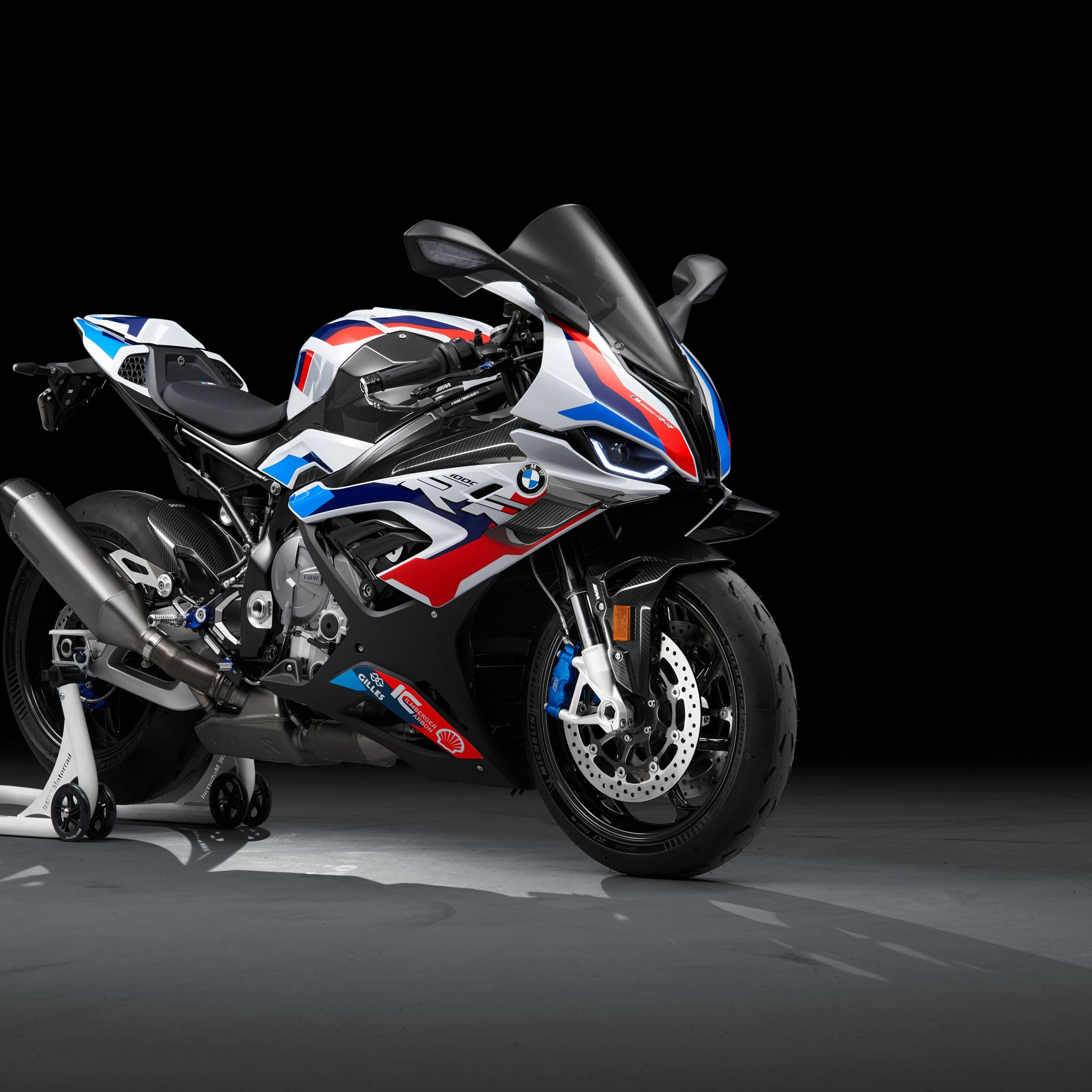 bmw m 1000 rr race bikes black background 2021 5k 2743