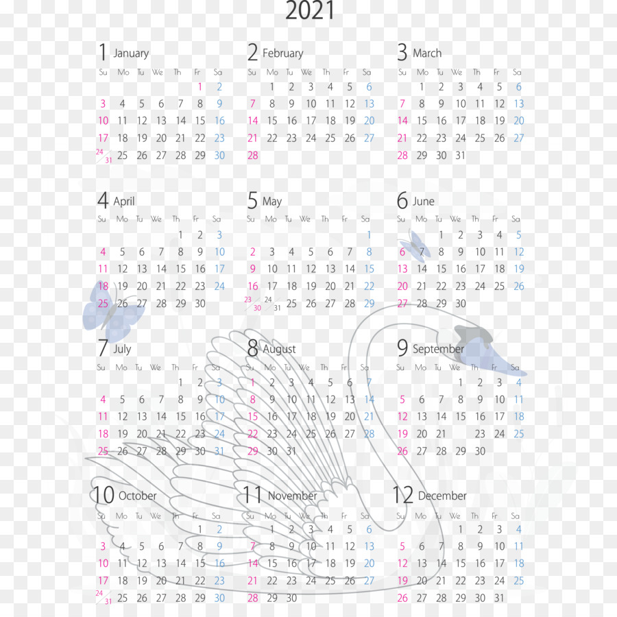 transparent 2021 yearly calendar printable 2021 yearly calenda 5f127b9598ae45
