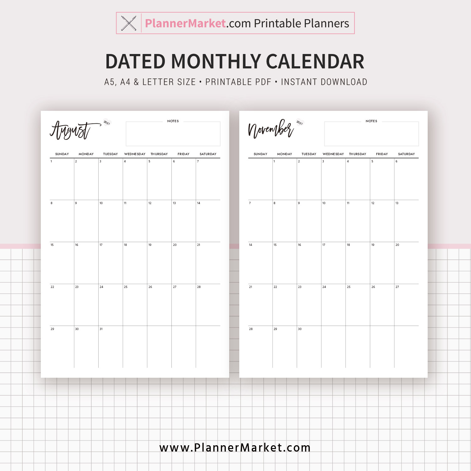 monthly calendar monthly planner printable planner inserts a5 a4 letter size monday and sunday start