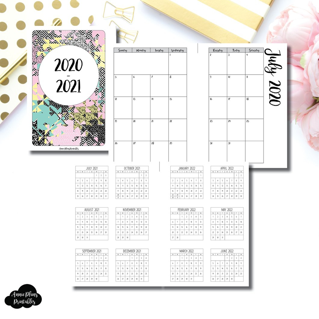 a6 rings size 2020 2021 academic monthly calendar sunday start printable insert ©