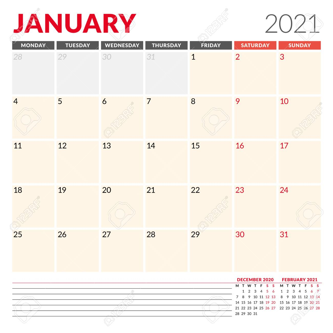 photo stock vector calendar template for january 2021 business monthly planner stationery design week starts on monday