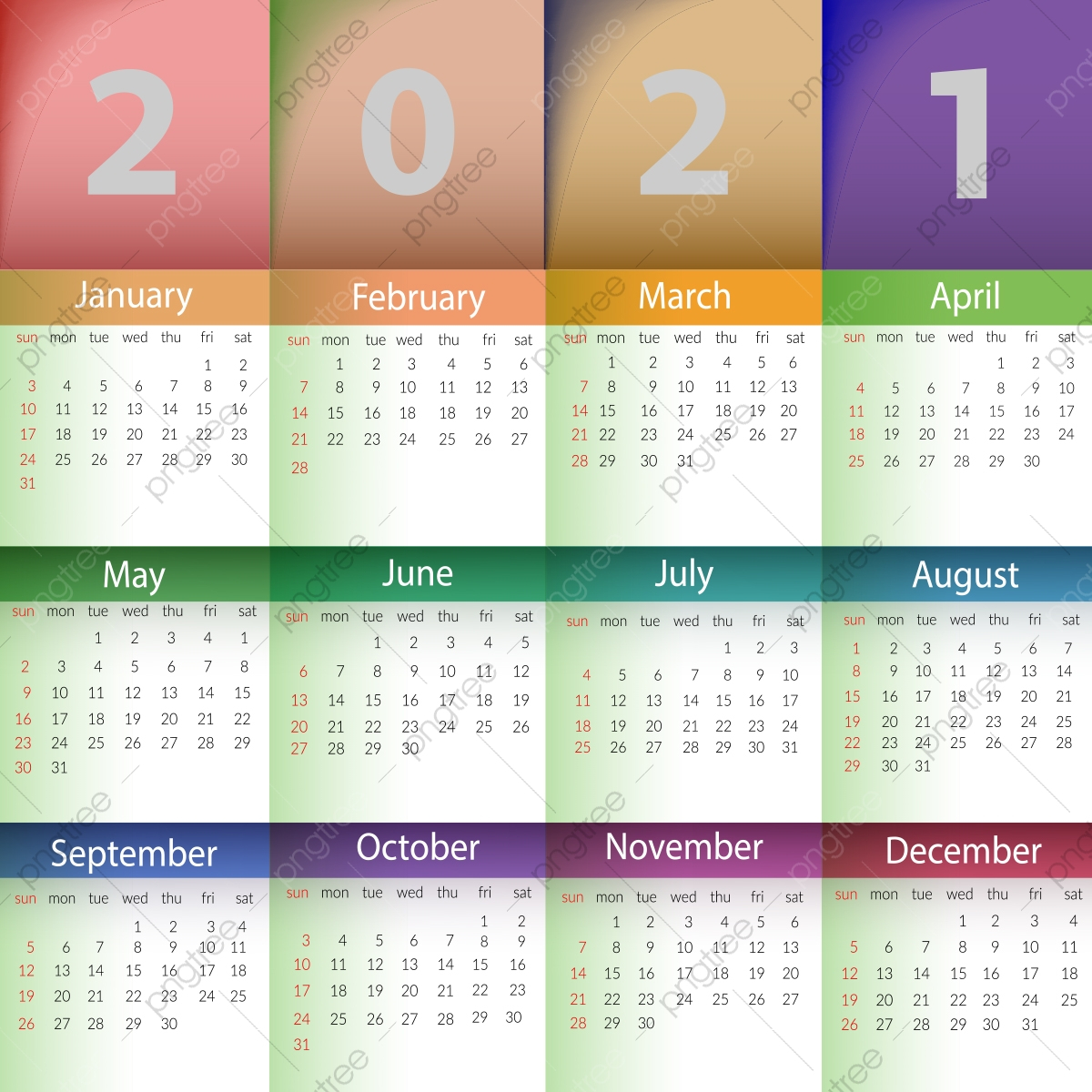 pngtree 2021 calendar template with background design png image