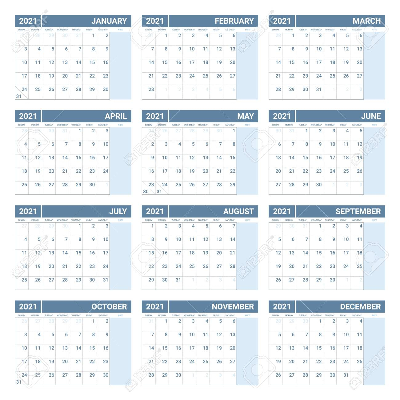 photo stock vector 2021 calendar week starts on sunday printable 2021 yearly calendar template in simple design