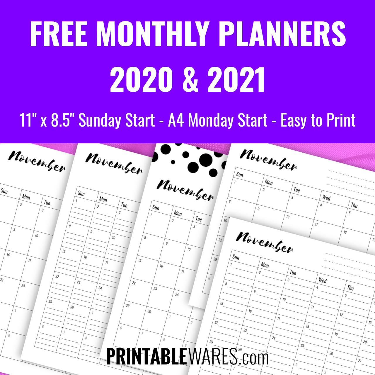 monthly planner printable templates 2021