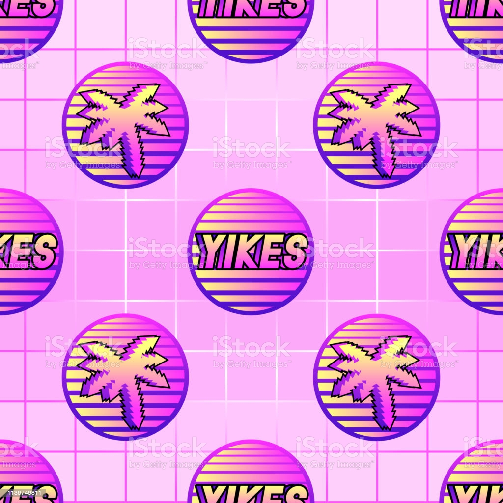 seamless pattern with word patches yikes and palm trees pink grid gra nt gm